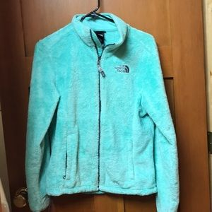 North Face Fuzzy Turquoise ZIP Down Jacket